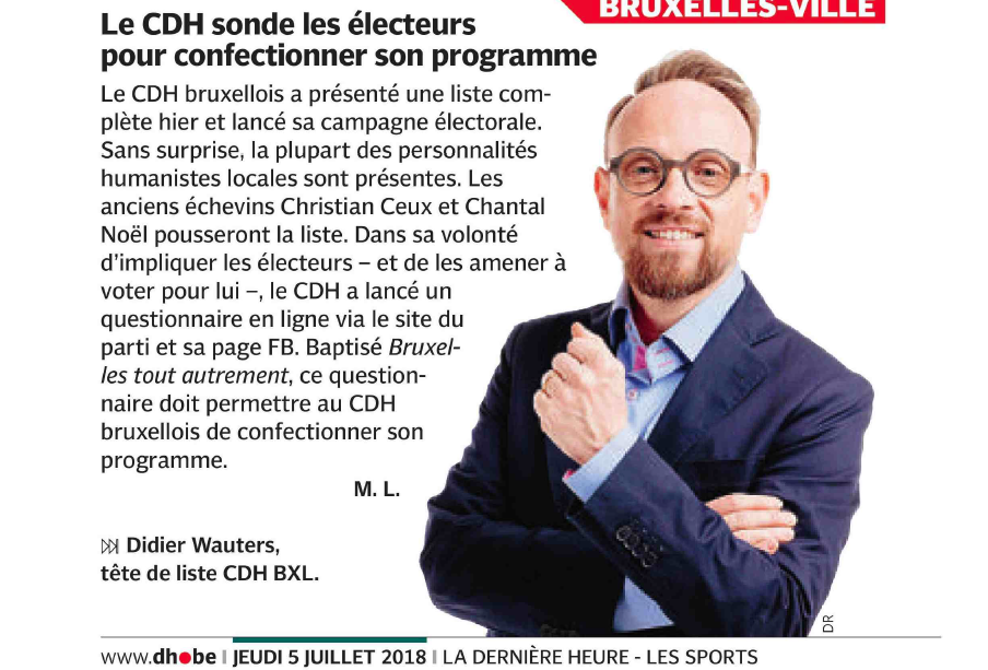 Article dans La Dernière Heure: le CDH sonde les électeurs pour confectionner son programme