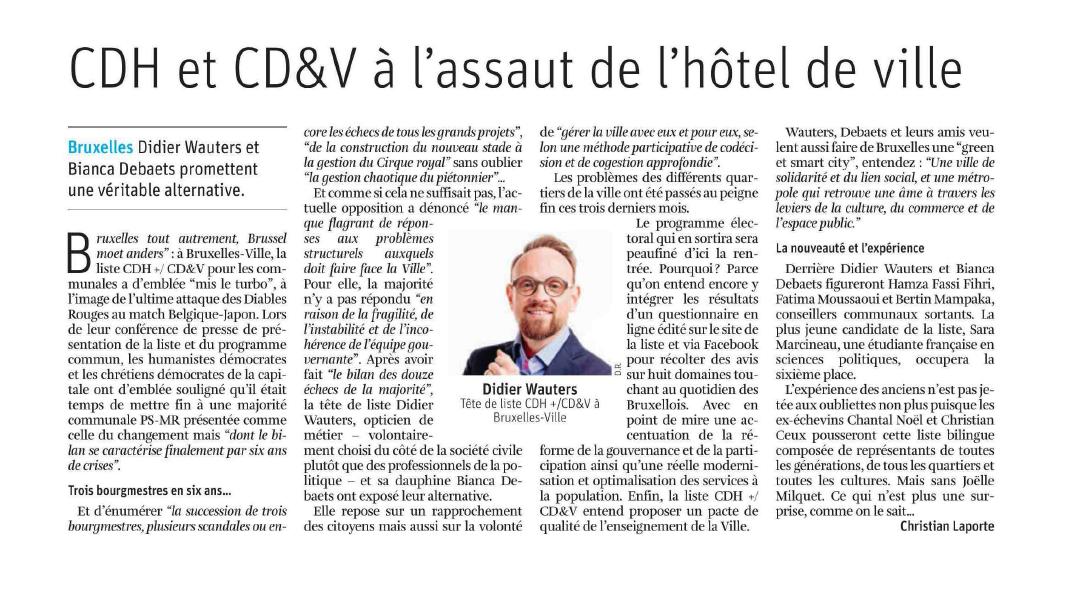 Article dans La Libre: CDH et CD&V à l'assaut de l'hôtel de ville