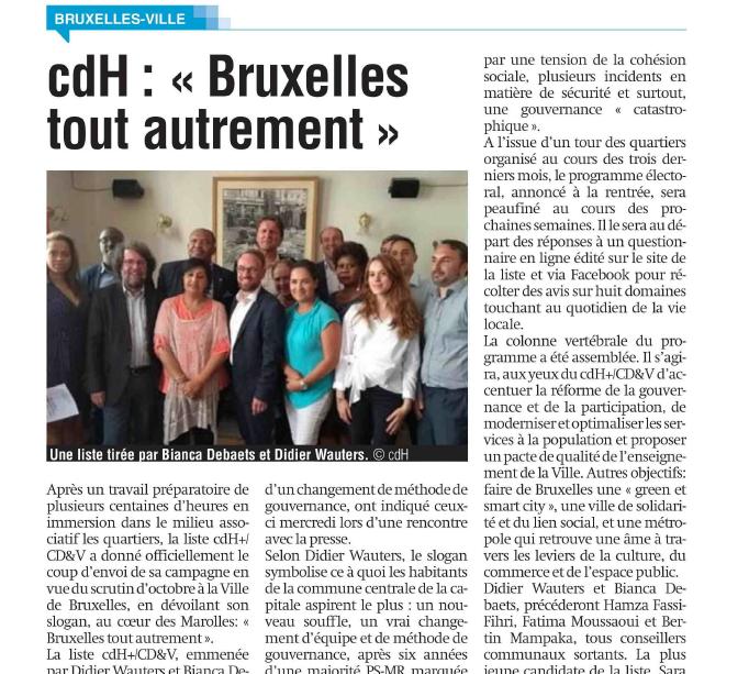 Article dans La Capitale: cdH «Bruxelles tout autrement»