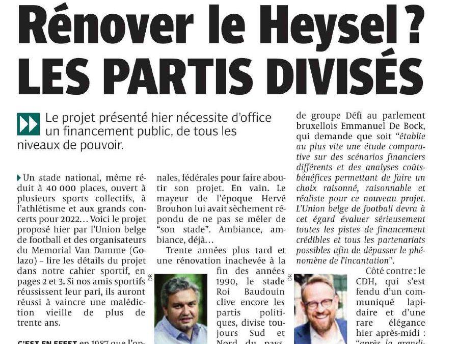 Article dans la DH: Rénover le Heysel? Les partis divisés.